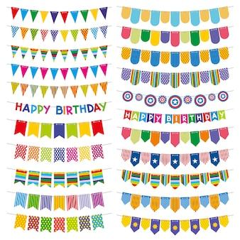 カラフルな旗布の旗と花輪。誕生日パーティーの装飾