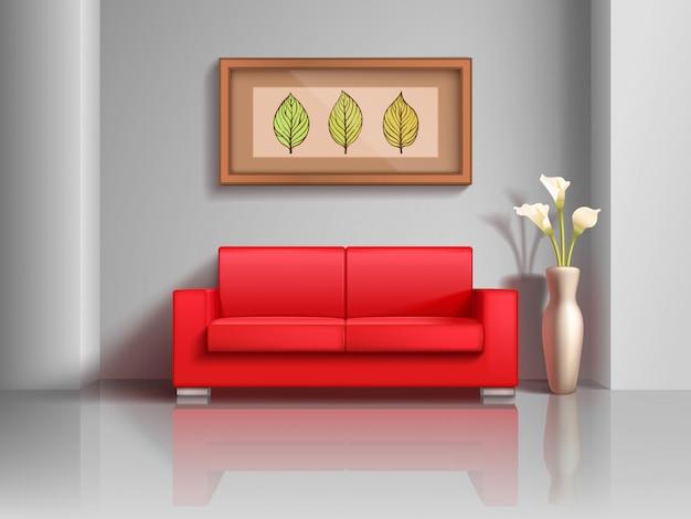 現実的な赤いソファとリビングルームのインテリアの植木鉢