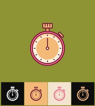 時計のアイコン。色のフラットの図。ピンクのシンプルなストップウォッチ