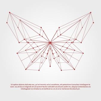 テキストテンプレートと抽象的な幾何学的な蝶