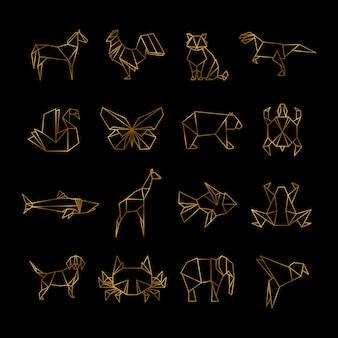 Золотые японские оригами бумага животных векторные иконки линии