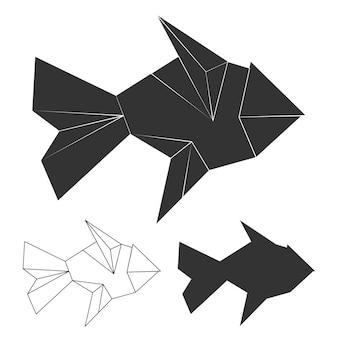 多角形、ライン、シルエットの魚セット