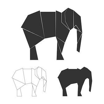 ベクトル紙日本象。野生動物の象のシルエット