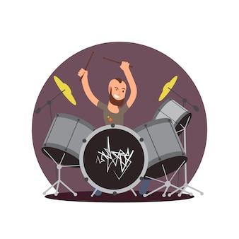 Мультипликационный персонаж барабанщик. плоский вектор концепция музыканта
