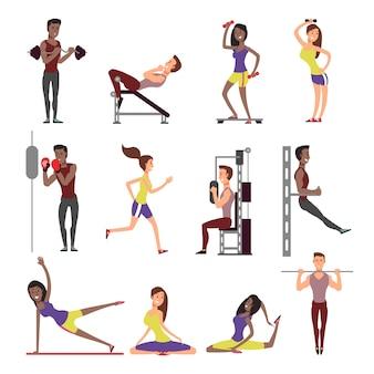 フィットネスの人々はベクトル漫画のキャラクターセットです。分離された男性と女性の運動選手