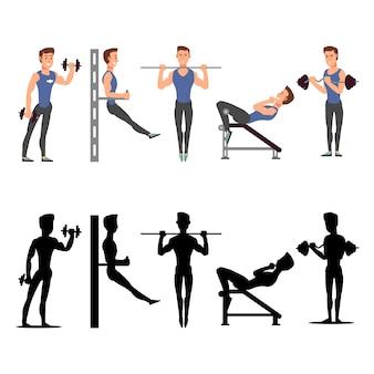 Спортивные мужские персонажи. векторные мужские силуэты фитнеса