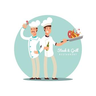 プロのシェフのフラットなデザイン。幸せな料理人のベクトルの漫画のキャラクター