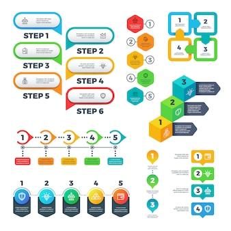 インフォグラフィックチャート。棒グラフ、ステップおよびオプション要素、フローチャート図、タイムライン。便利なベクターセット