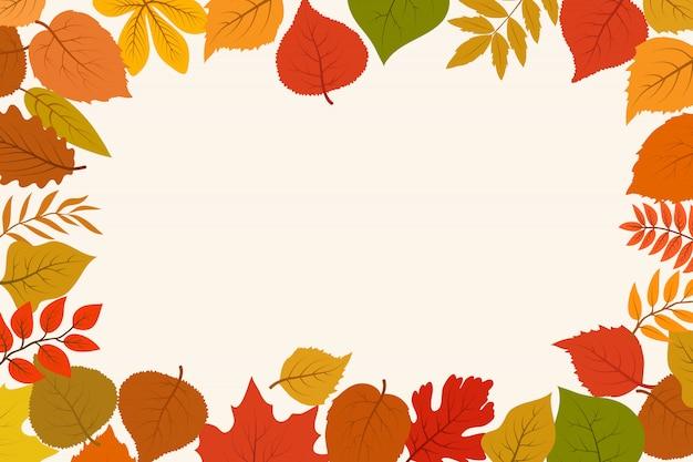 Опавшие золотые и красные осенние лесные листья. октябрьская граница листьев природы