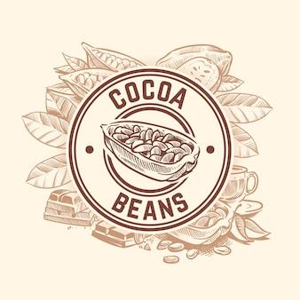 ココア豆の木。チョコレートカカオスケッチバッジ