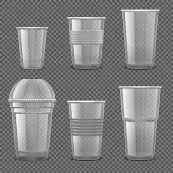 分離された空の透明なプラスチックの使い捨てカップのセット