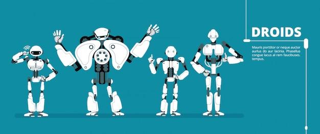 Мультяшный робот андроид, киборг группа. искусственный интеллект вектор футуристический рисунок