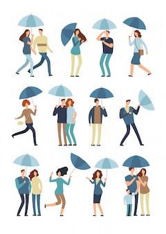 Люди в плаще под дождем плоские символы изолированы