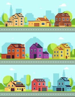 Городская улица со зданиями, пригородной дорогой и домами, дачами. вектор бесшовные горизонтальные городские пейзажи