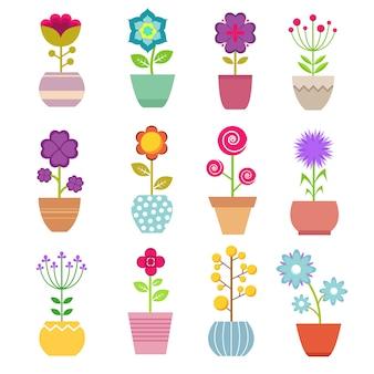 鍋に夏の庭の花。美しい黄色と赤のチューリップ、バラ、花瓶の枝を持つ緑の植物。花のベクトルのセット