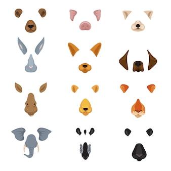 変な動物の顔。漫画の動物の耳と鼻のベクトルのセット