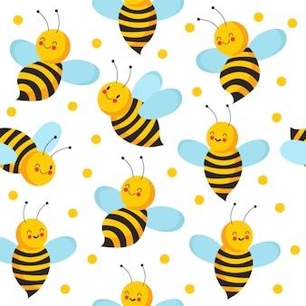 蜂の縫い目パターン。蜂蜜製品のかわいい空飛ぶ蜂。無限の蜂の家のベクトルの背景