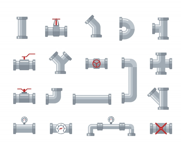 パイプスチールおよびプラスチックコネクタ、水チューブ。配管、パイプライン部品およびバルブ、産業排水システムベクトルフラット図