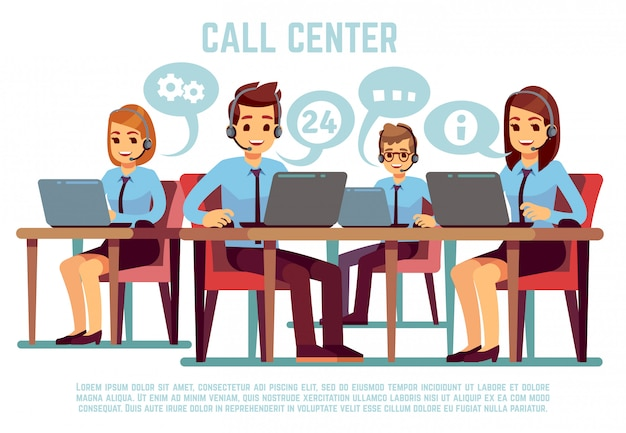 コールセンターオフィスの人々をサポートするヘッドセットを持つオペレーターのグループ。ビジネスサポートとテレマーケティングのベクトル図
