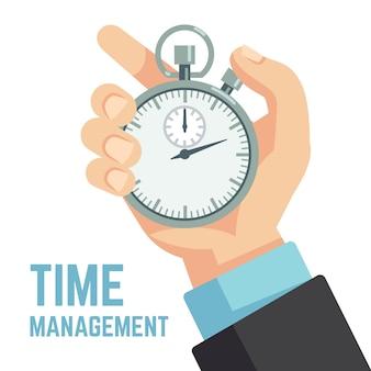 ストップウォッチまたは時計を持っているビジネスマン手。締め切り、時間厳守、時間管理ビジネスベクトル