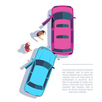 車の交通事故。クラッシュした車と道路のトップビューの人々。保険のベクトル図