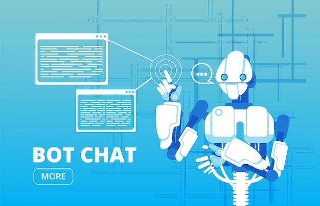ボットチャット。ロボットサポーターチャットボット仮想支援ビジネスバナー