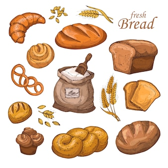 漫画のパン、焼きたてのベーカリー製品、小麦粉、小麦の穂。分離された手描きベクトルセット