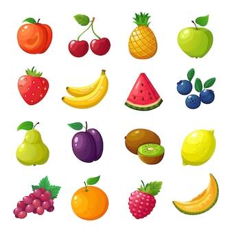 Мультфильм фрукты и ягоды. дыня груша мандарин арбуз яблоко апельсин изолированный вектор набор