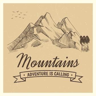手描きの高山のピーク