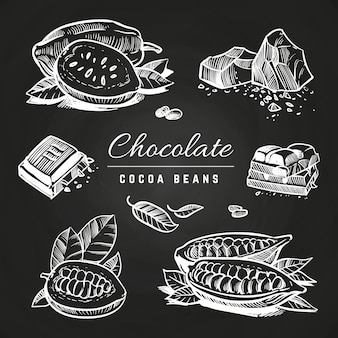 手描きの黒板にチョコレートとココア豆