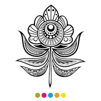 抽象的な花羽イラスト