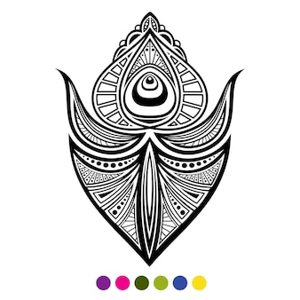 Черно-белое изолированное перо птицы павлина