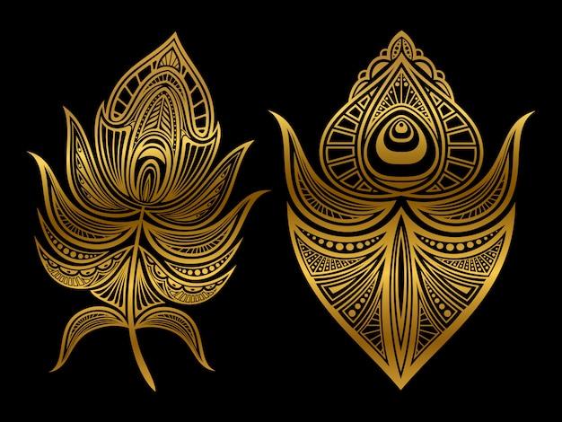分離された黄金の抽象的な羽