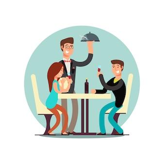 漫画のキャラクターのカップルがレストランで食事