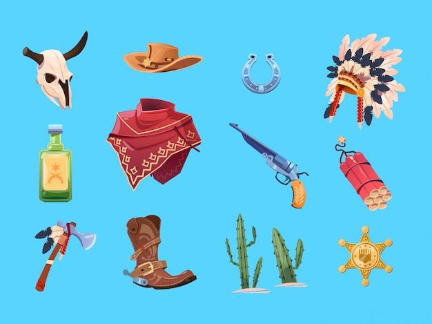 野生の西の漫画セット。カウボーイブーツ、帽子、銃。雄牛の頭蓋骨、インド戦争のボンネット、トマホーク。孤立したコレクション