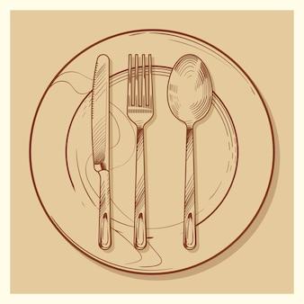Ручной набросал старинные столовые приборы и тарелку иллюстрации