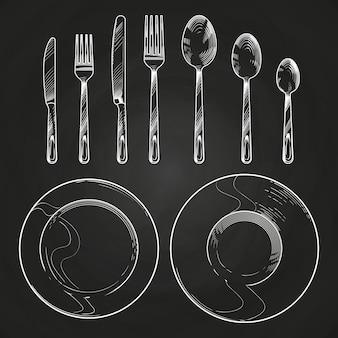 Старинный нож, вилка, ложка и посуда в стиле гравюры эскиза. рука рисунок столовые приборы на доске