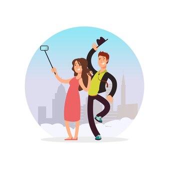Счастливая пара, делая селф. мультипликационный персонаж мужчина и женщина делает фото