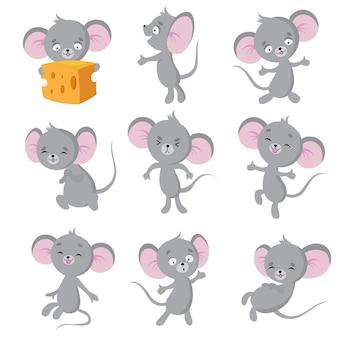 漫画のマウス。さまざまなポーズの灰色のマウス。かわいい野生のラット動物キャラクター