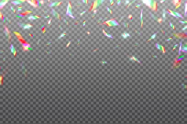 Голограмма глюк радуги. кристалл блестящей металлической радужной фольги изолированы. иллюстрация эффекта голограммы