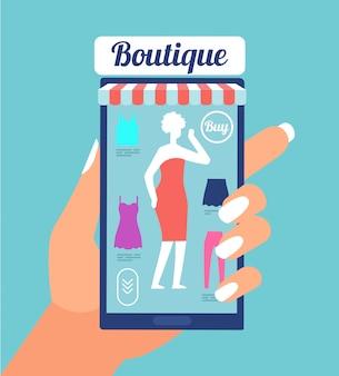 Интернет магазин модной одежды. магазин одежды приложение на экране мобильного телефона. модный шоппинг мобильный ритейл