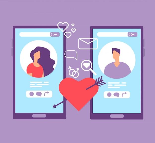 Романтические знакомства онлайн. влюбленная пара на экранах мобильных телефонов. приложения для знакомств