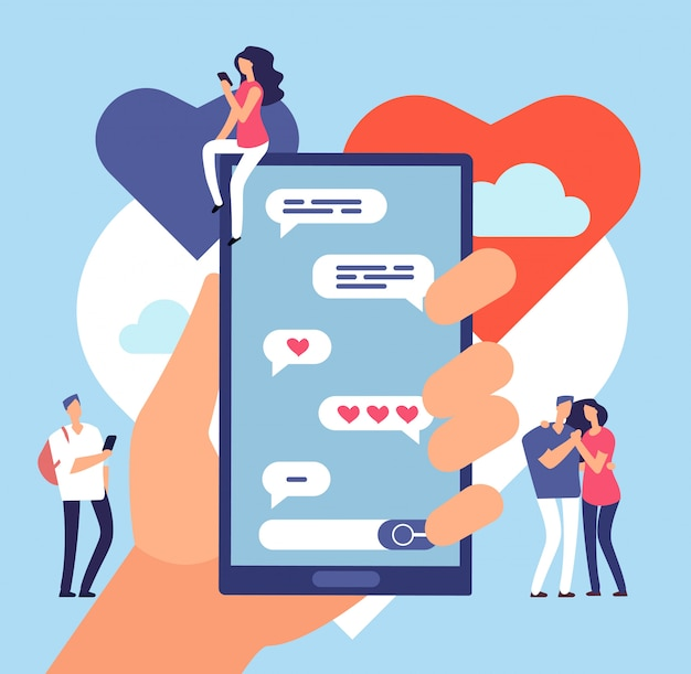 オンラインデート。フレンドリーなインターネット通信。ロマンチックな出会い系サイトのアプリケーション
