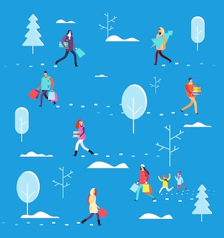 冬休みの人々。ショッピングバッグ、ギフト、クリスマスツリーを運ぶ人。クリスマス・イブ