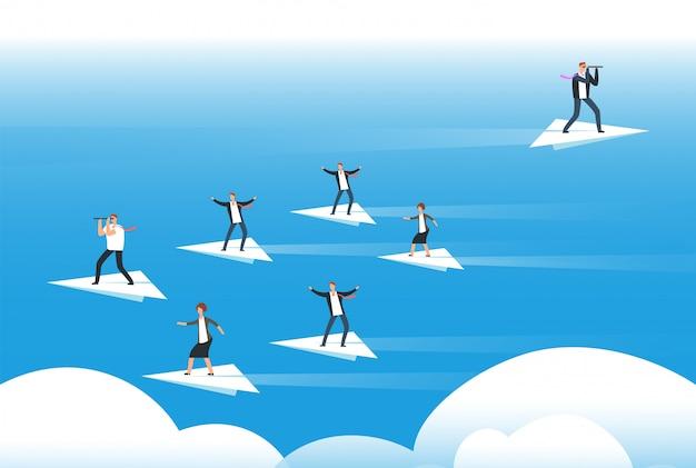 個々の思考と新しい方向。紙飛行機の上に立ってのビジネスマン。ユニークなソリューションと自分自身を信じて