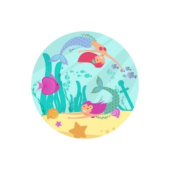 Мультипликационный сказочный подводный баннер с русалками и рыбками
