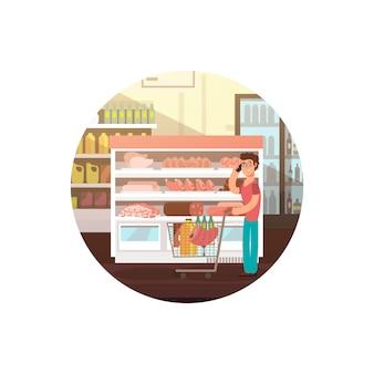 Мультфильм человек в магазине продуктов питания или супермаркете баннер