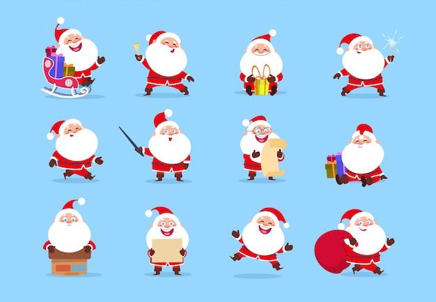 サンタのキャラクター。さまざまな感情、クリスマスグリーティングカードの要素を持つ面白い漫画かわいいサンタクロースのキャラクター