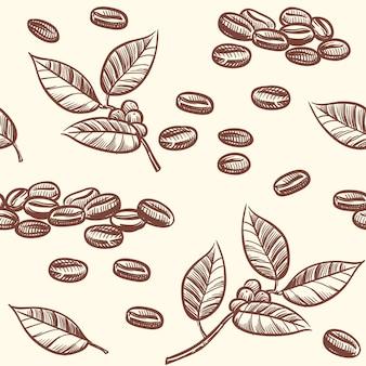 コーヒー豆と葉、エスプレッソ、カプチーノベクトルスケッチスタイルのシームレスパターン