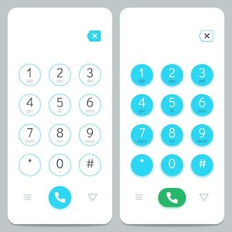 電話のキーパッド。数字付きのスマートフォン画面キーボード。